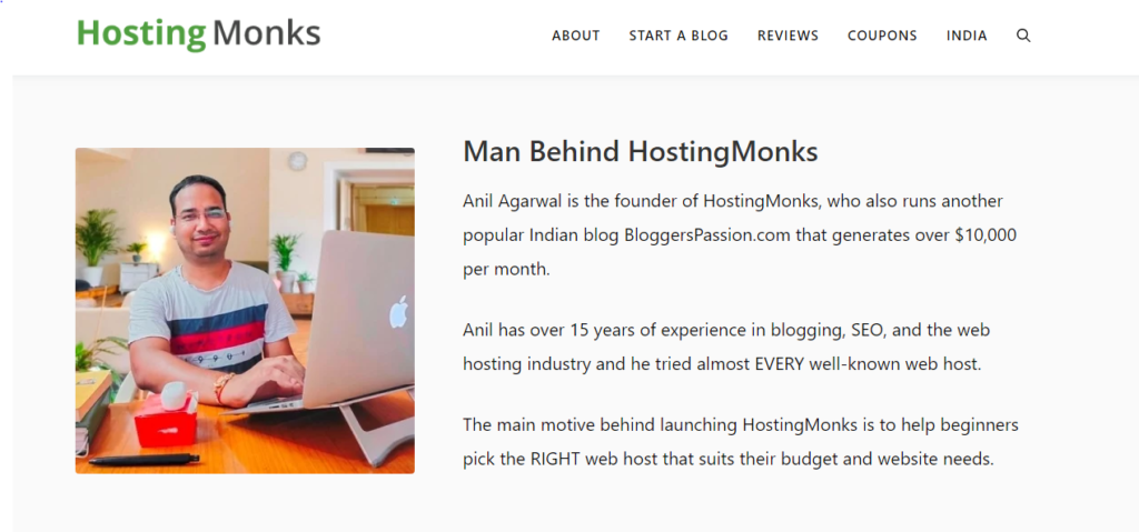 Hostingmonks website